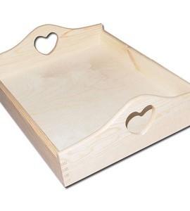 Δίσκος με καρδιά ξύλινος 400x300x105 mm