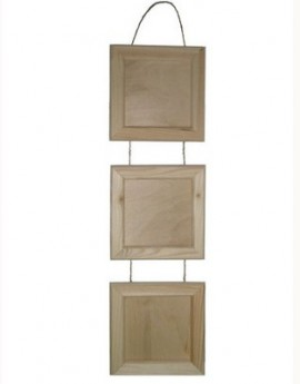 Ξύλινα καδράκια σετ 3τεμ με σκοινάκι 225x225mm