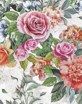 Seamless floral pattern with red and pink roses and peonies on watercolor background